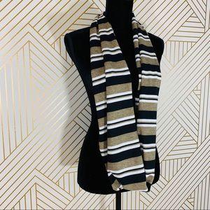 Accessories - NWOT Black/White/Camel Stripe Wrap Scarf